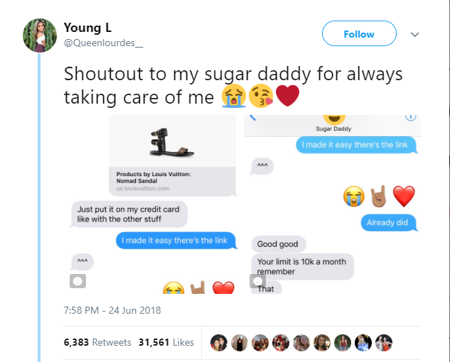 Proud side-chick celebrates her Sugar Daddy on Twitter for giving her his credit card to shop and always taking good care of her (Photos)