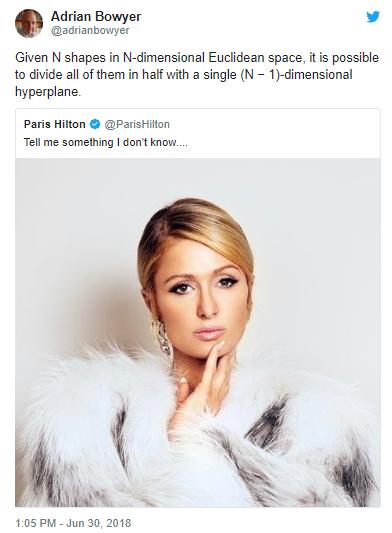 """Paris Hilton tweeted """"Tell me something I don"""