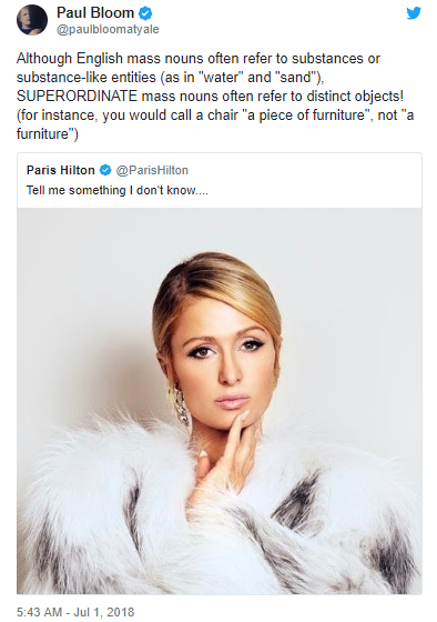 "Paris Hilton tweeted ""Tell me something I don"
