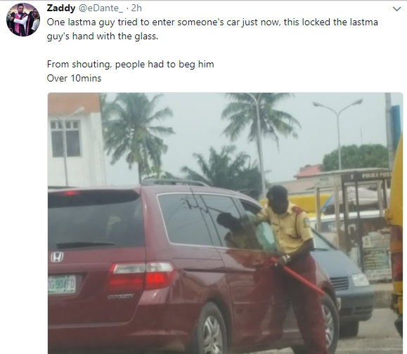 LASTMA officer begs for mercy after his hand gets trapped when a driver wound up as he tried to forcefully enter the car
