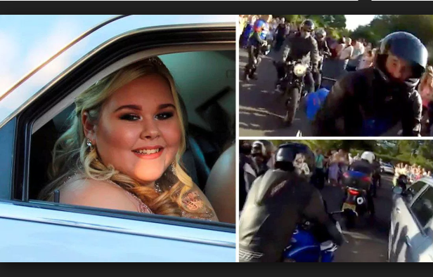 Bullied schoolgirl arrives at her prom with a motorcade escort of 127 bikers in a show of support organised by her uncle (Video)