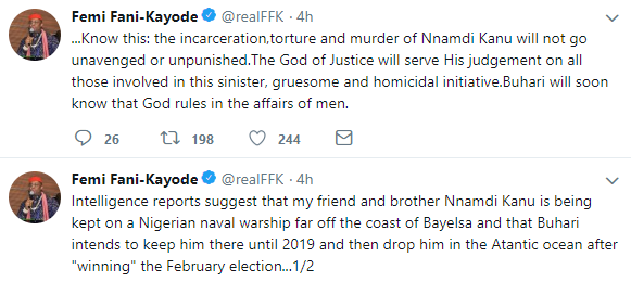 FFK says missing IPOB leader, Nnamdi Kanu, is being held on a naval warship off the coast of Bayelsa