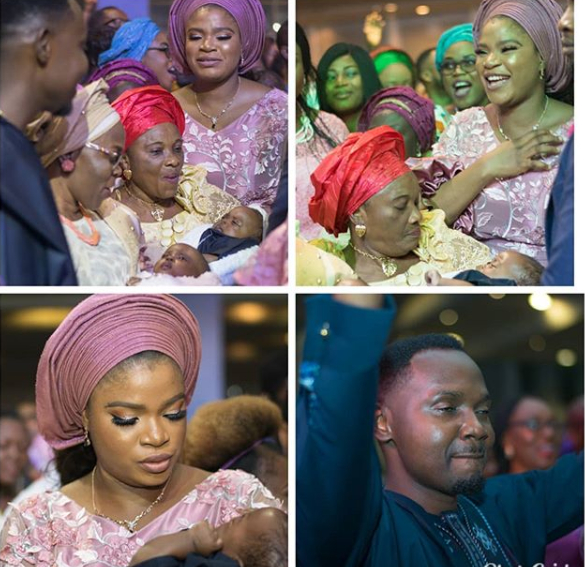 Photos: Comedian Teju Babyface and wife dedicate their set of twins in church