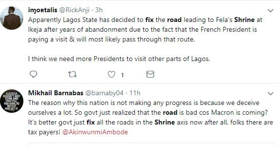 Lagos state government is repairing roads that leads to Shrine ahead of President Macron