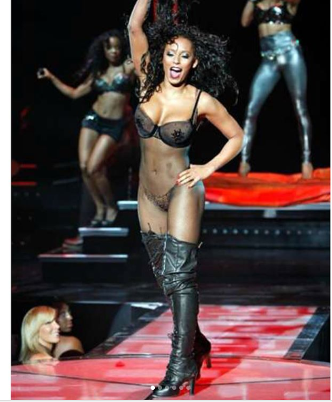 Mel B shows off her stunning figure in fishnet jumpsuit and knee-high boots (Photos)