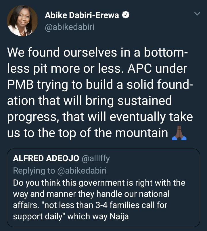 """PMB is trying to build a solid foundation"" - Abike Dabiri Erewa"
