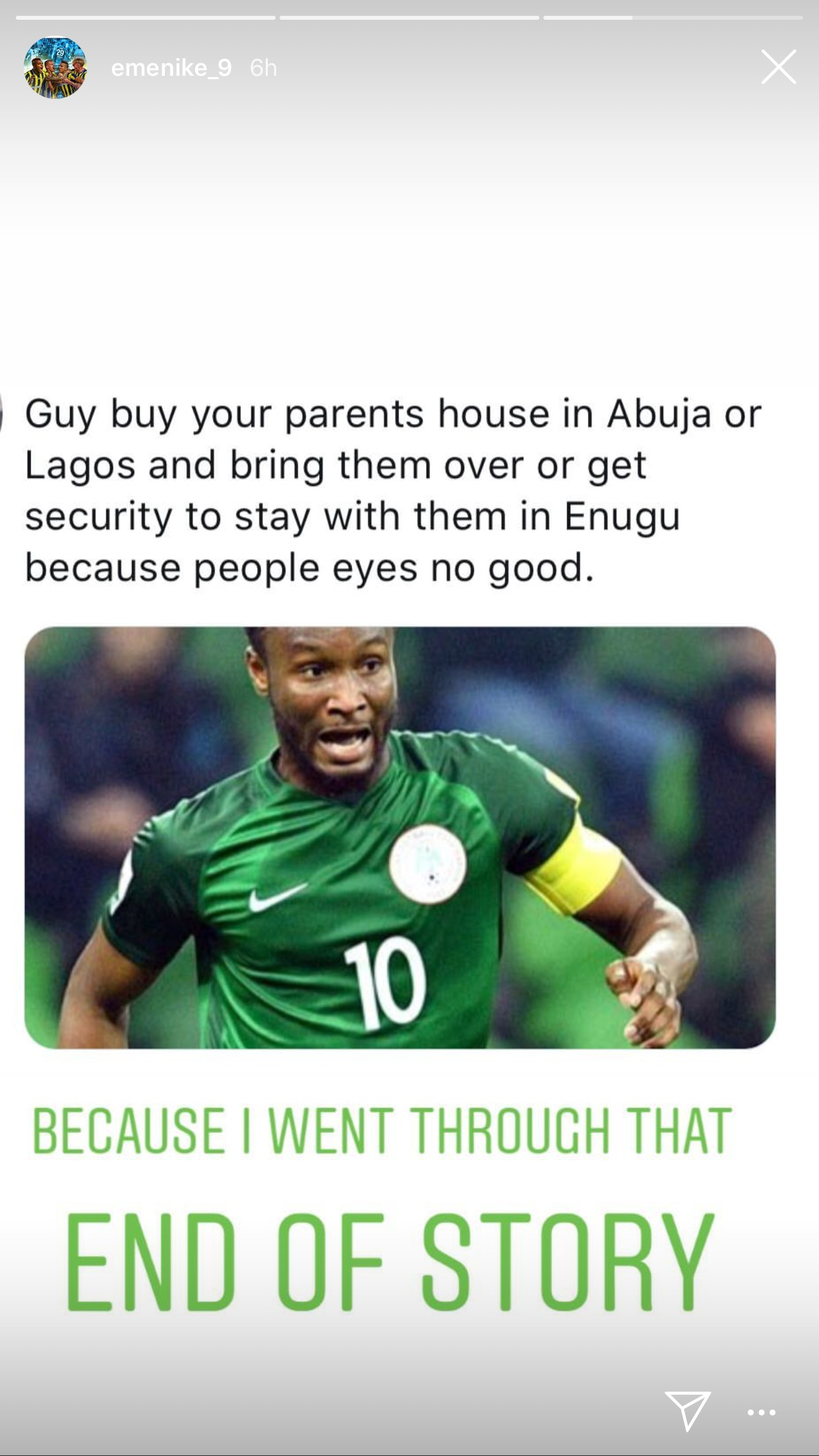 Emmanuel Emenike advices Mikel Obi to either get security to stay with his father or relocate him out of Enugu