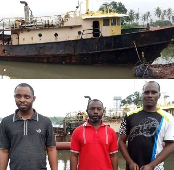 Photo: Three suspected oil thieves arrested in Port Harcourt