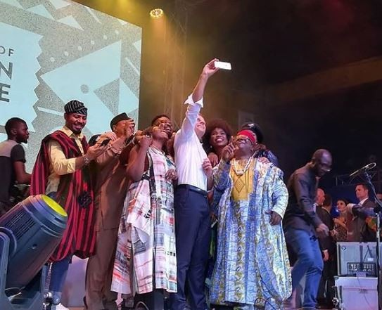 Photos: How Angelique Kidjo,?Omotola Jalade,?and other stars turned up at the Afrikan Shrine to party with Emmanuel Macron