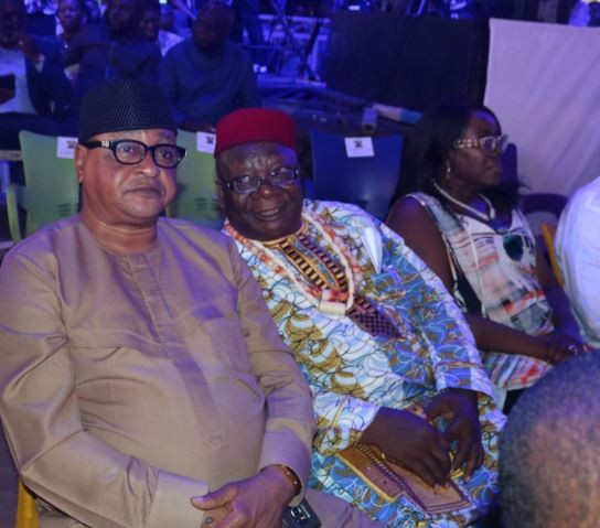 Veteran actors Jide Kosoko and Chief Zebudaya spotted at the reception for French President, Emmanuel Macron