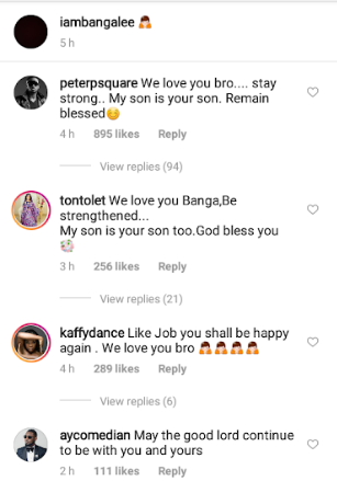 """My son is your son"" Peter Okoye and Tonto Dikeh tell Dbanj as they console him for the loss of his son and social media users call them out for being ""insensitive"""