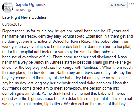 17-year-old girl allegedly rushed to the hospital after having sex with boyfriend in Delta