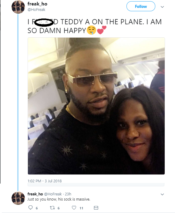 Nigerian lady claims she had sex with BBA star Teddy A on the plane