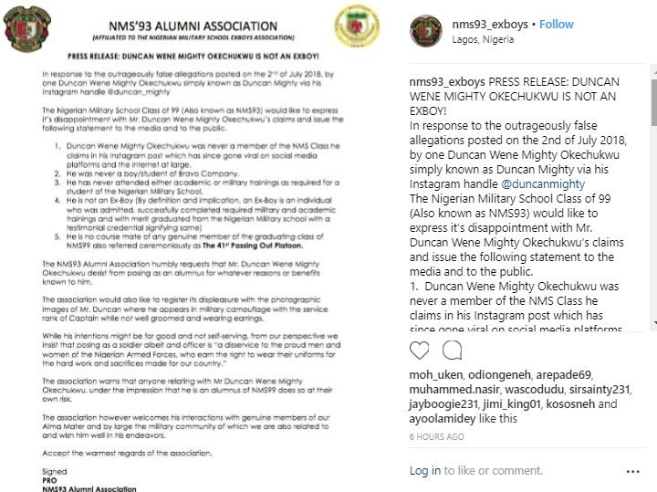 Duncan Mighty slammed by former Nigerian Military school students for claiming to be an ex student of the school on Instagram