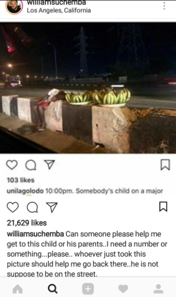Kindhearted Nigerians rally round to locate and help a Nigerian boy seen sleeping while hawking plantain in the middle of the night