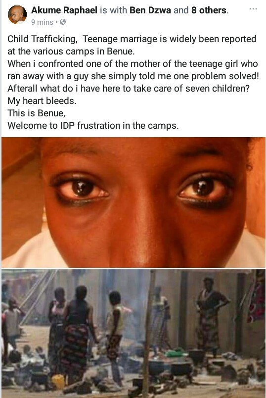 Journalist raises alarm over cases of child trafficking and teenage marriage in Benue IDP camps