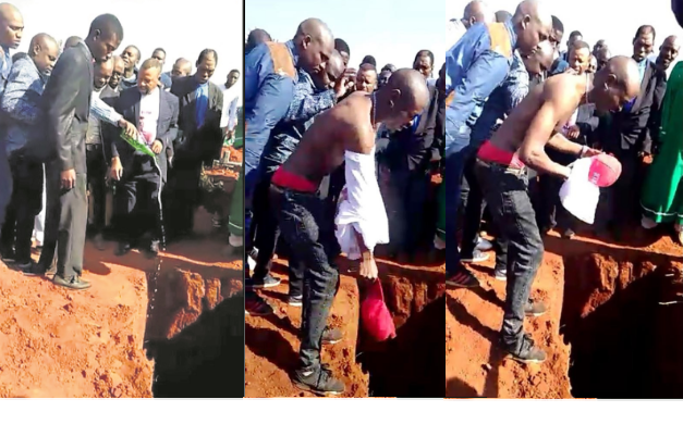 Man who committed suicide by drinking beer with rat poison is buried with beer, cash, cellphones and expensive clothes (Photos)