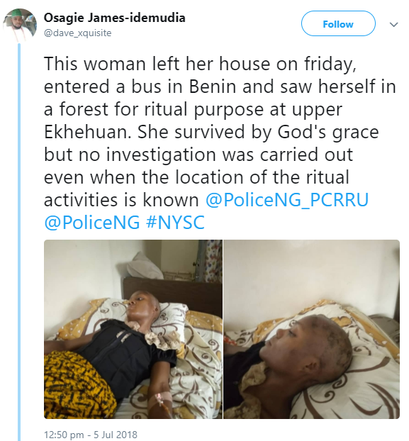 Woman rejected by ritualists after she boarded a bus in Edo state comes out to narrate how other passengers were killed in her presence