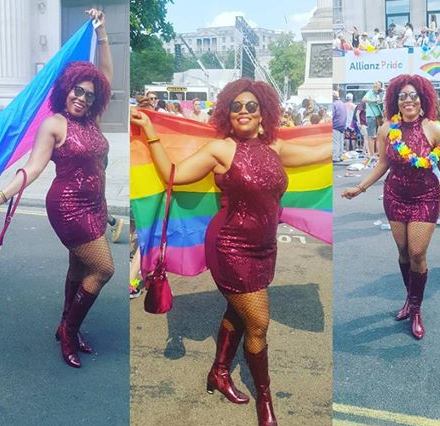 Nigerian openly bisexual woman shares photos of herself attending London gay pride