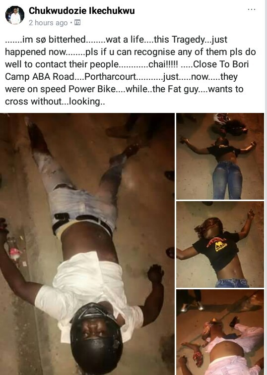 Graphic: Young couple, one other killed in ghastly powerbike accident in Port Harcourt