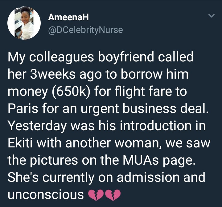 Twitter stories. Boyfriend borrows N650K from girlfriend for