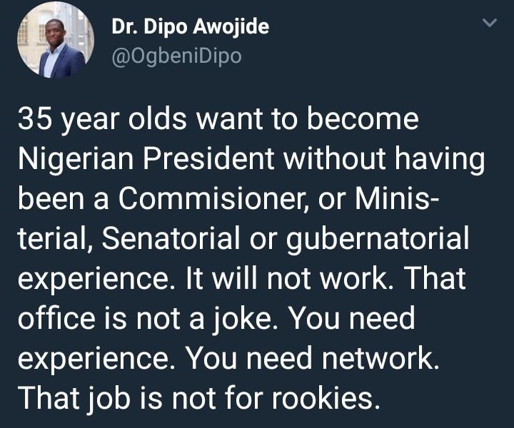 UK-based Nigerian lecturer says young Nigerians who aspire to become President must garner experience first