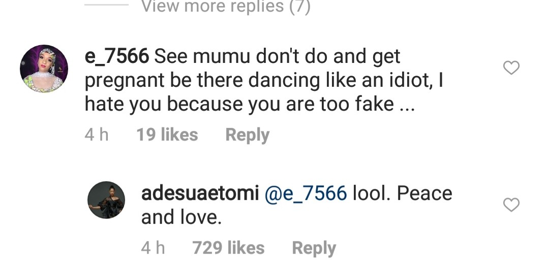 See the classy reply Adesua Etomi gave an Instagram user who told her to go and get pregnant
