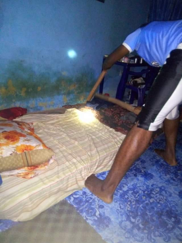 Lucky escape as Kogi State University student finds snake under his bed (photos)