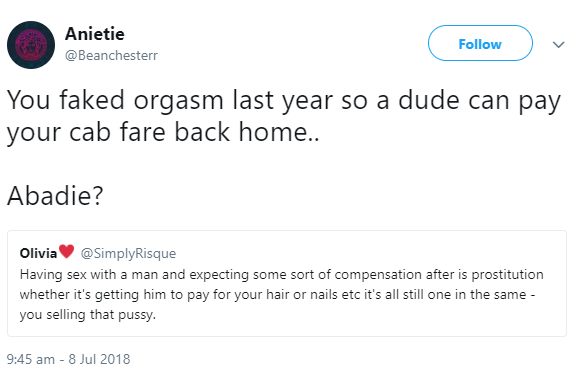 Twitter users dig up old tweet where lady revealed she faked orgasm to get cab money after she chastised women who sleep with men for money