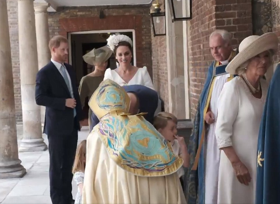 Photos/video of members of the Royal family at Prince Louis