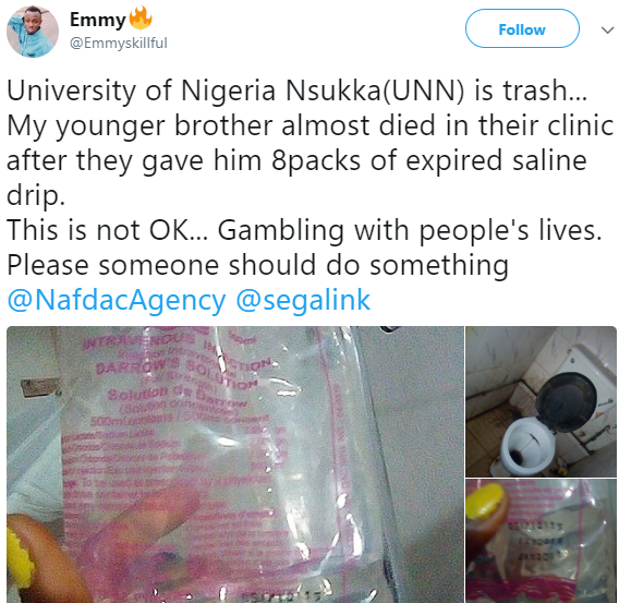 Young man almost killed after allegedly being injected with expired drip at the University of Nigeria Nsukka clinic(photos)
