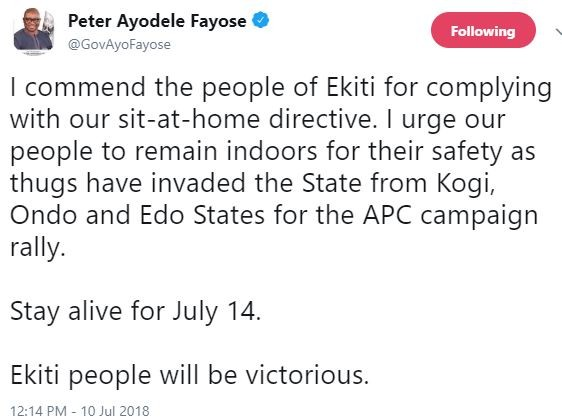 Governor Fayose issues
