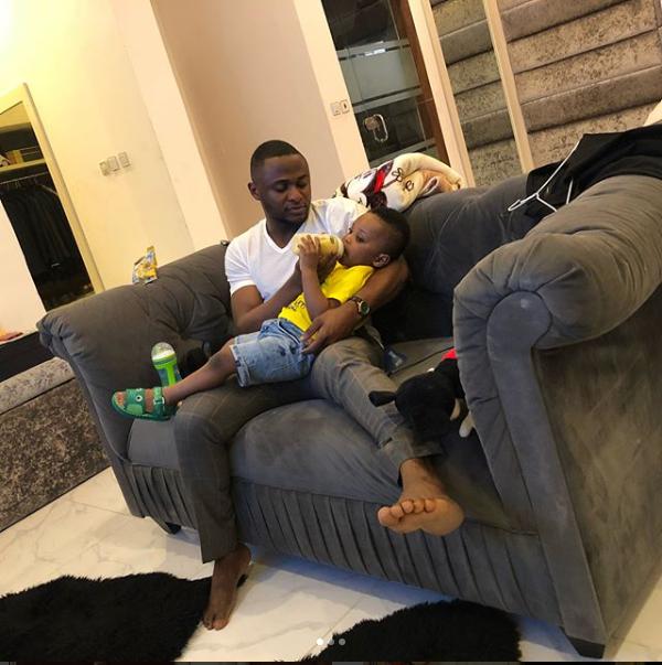 DaddyDuties! Ubi Franklin shares photos of himself bottle-feeding his cute son Jayden