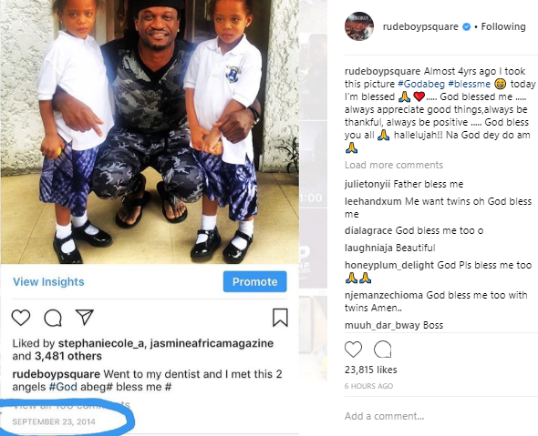 Paul Okoye shares throwback post where he asked God for a set of twin babies which God eventually blessed him with