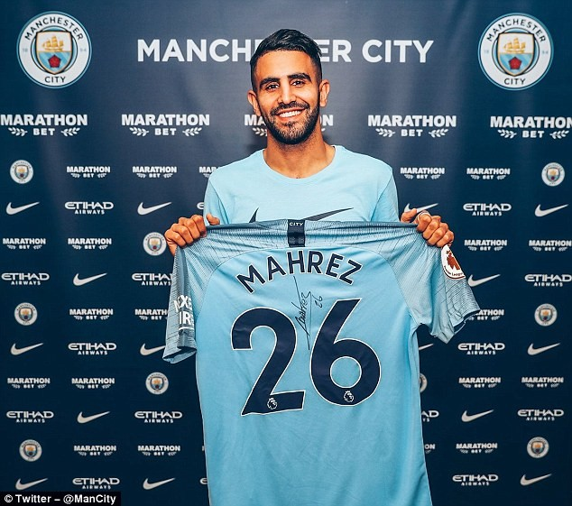 Manchester City completes club record ?60m signing of Algerian winger Riyad Mahrez from Leicester City