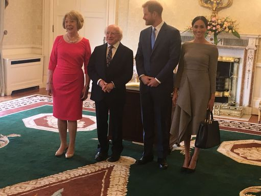 Meghan Markle and Prince Harry meet President Michael Higgins and his excited dogs in Ireland