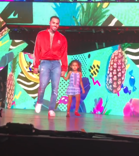 Watch the cute moment Chris Brown brought his daughter Royalty on stage at his concert?