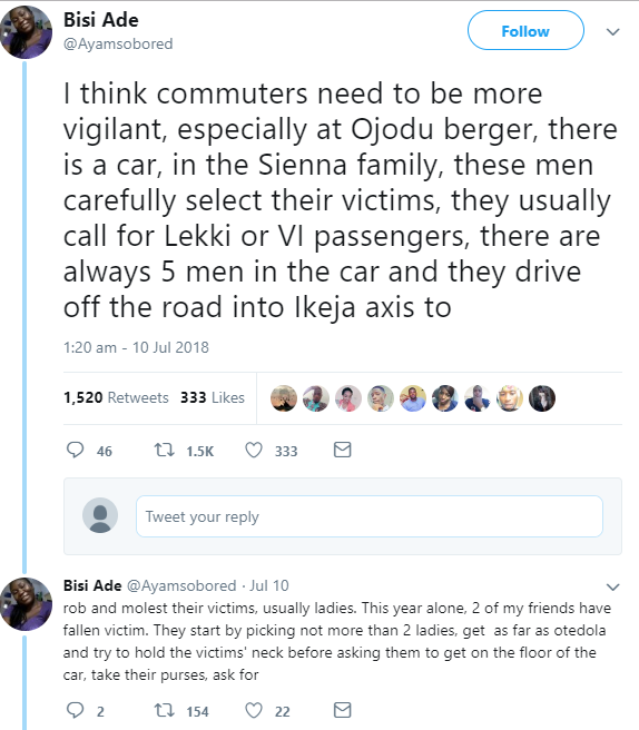 Concerned Nigerians warn commuters about a gang that operate in Lagos using a Sienna car to pick up and rob workers