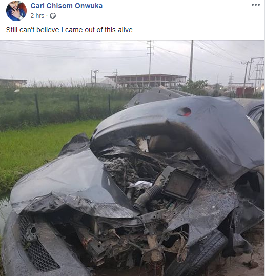 Nigerian show host cheats death after a ghastly accident (photos)