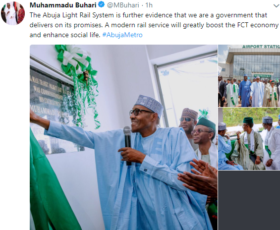 'Abuja light rail shows we are a government that delivers on our promises' - President Buhari