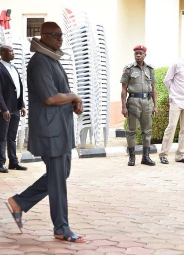 Governor Fayose steps out with his neck collar 24-hours after he was