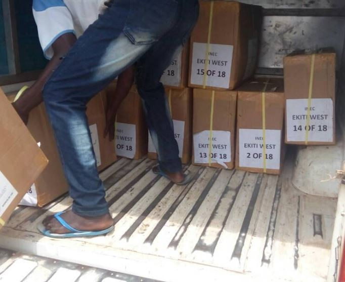 INEC begins the distribution of sensitive materials to 16 LGAs ahead of Ekiti State governorship election (Photo)
