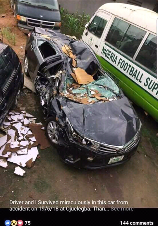 Doctor and his driver survive miraculously after tanker fell and crushed his car in the recent Ojuelegba incident (photo)