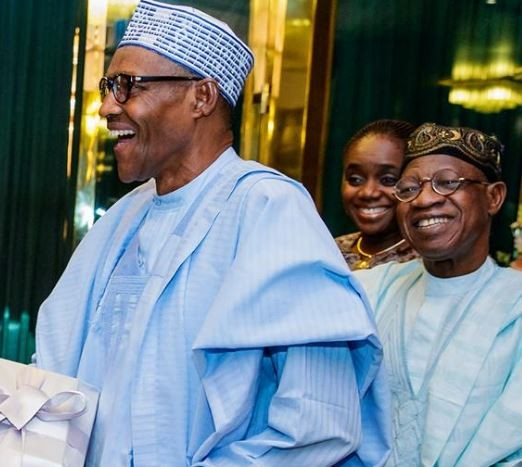 Photos: Finance minister, Kemi Adeosun spotted with President Buhari and Lai Mohammed today amidst her NYSC scandal