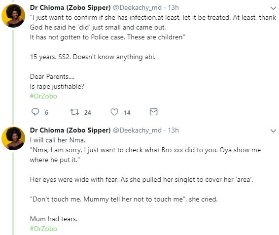 Doctor narrates shocking story of three year old girl raped by 15 year old SS2 student whose mother said is just a child and didn
