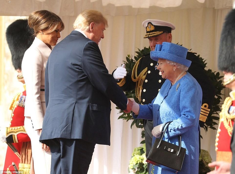 Donald Trump and Melania Trump meet Queen Elizabeth II at Windsor Castle for traditional English tea