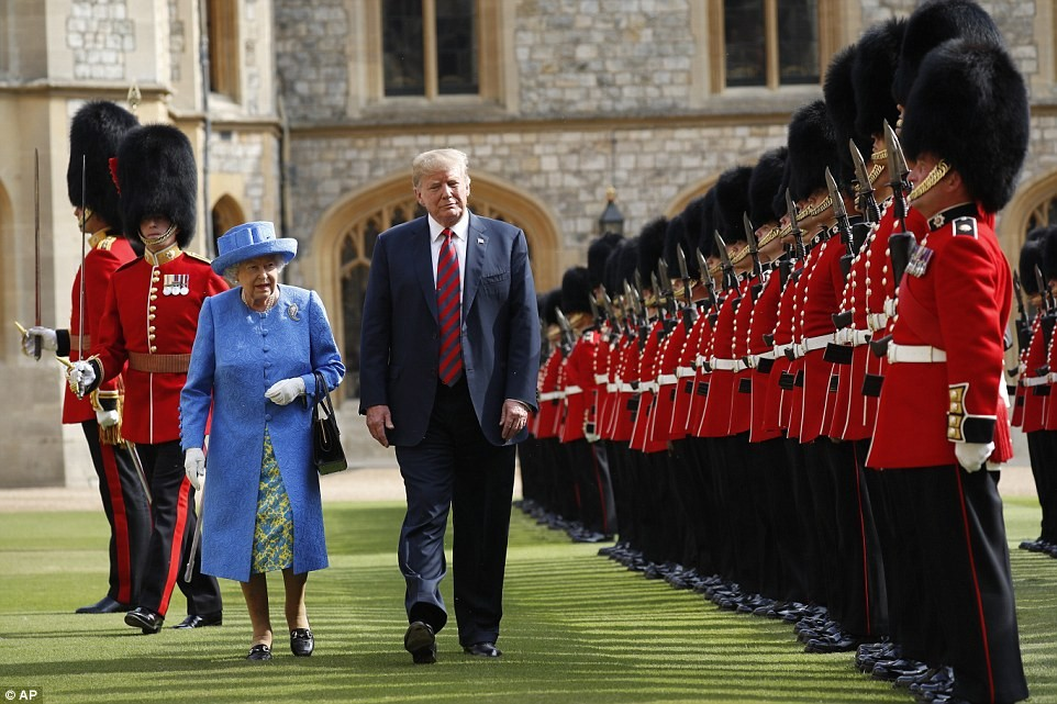Donald Trump and Melania Trump meet Queen Elizabeth II at Windsor Castle for traditional English tea