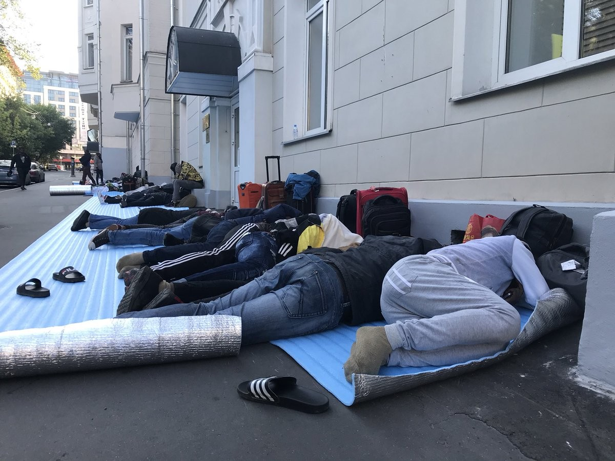 Photos-Many Nigerians who went to watch World Cup in Russia are stranded and cash-strapped