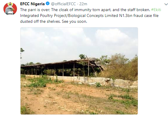 Ghen ghen! EFCC is coming for Fayose...see what they tweeted hours after his party lost the state governorship election