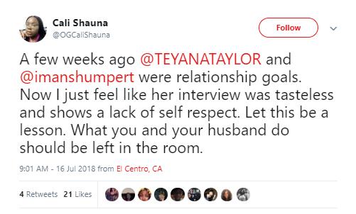Teyana Taylor slams non-fan who criticized her for revealing that she enjoys